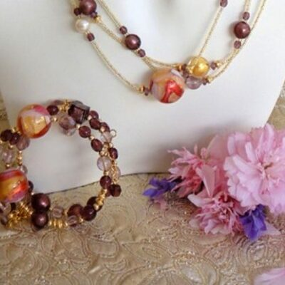 Murano Glass Bracelet Gypsy Berry