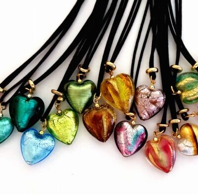Murano Glass Heart Necklaces