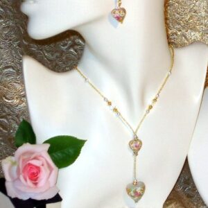 Murano Necklace Flower Heart Necklace