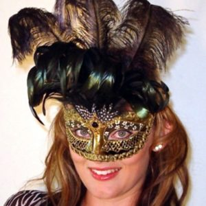 Antique Centurian Black Gold Venetian Mask