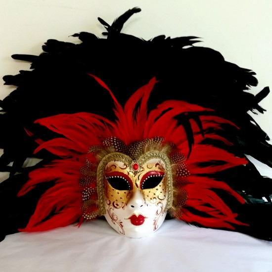 Pierrina Red Black Warrior Mask