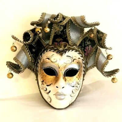 Pierrina Silver Jester Wall Mask
