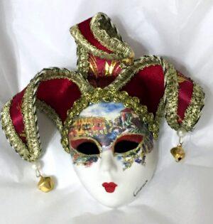 Venezia Red Jester Mini Mask