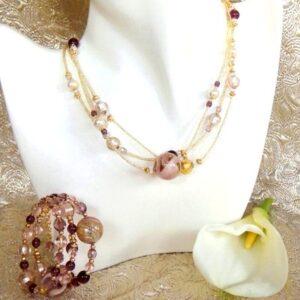Murano Glass Jewelry Set Pink