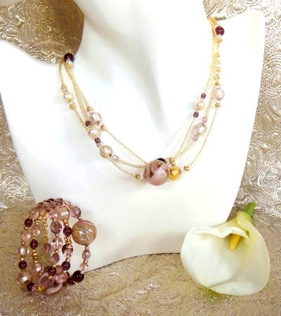 Murano Glass Jewelry Set Pink