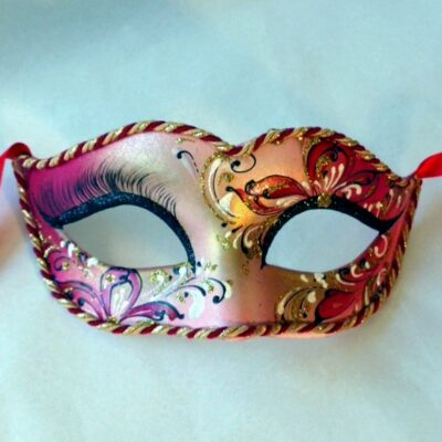 Lily Dark Red Gold Masquerade