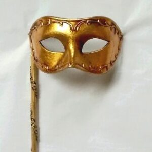 Antonio Gold Venetian Mask with Stick