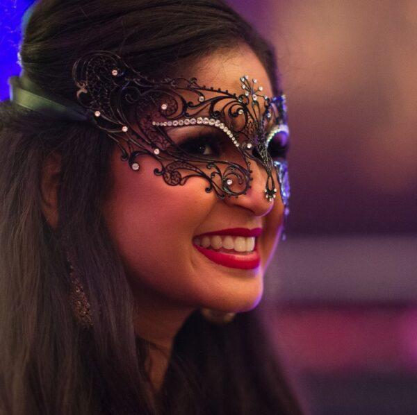 Black Venetian Masquerade Mask - Exotic Crystals