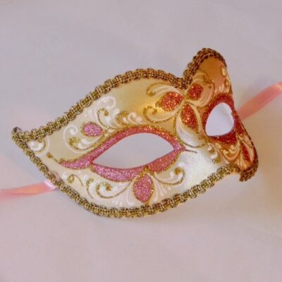 Pink Mask - Anika with Gold Venetian Mask