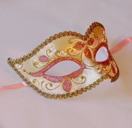 Pink Mask Gold Venetian Mask Nikita