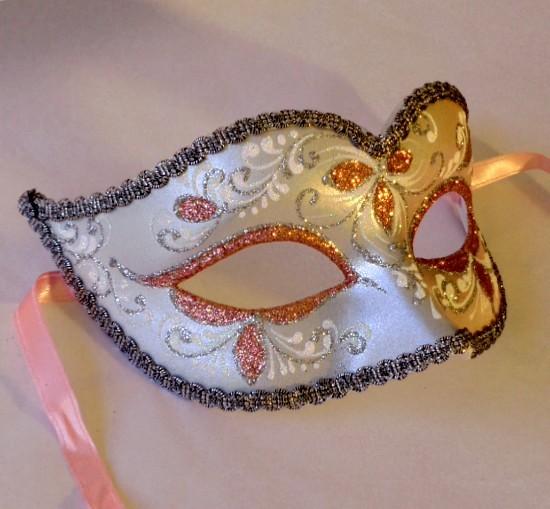 Pink Silver Mask Venetian Mask Nikita
