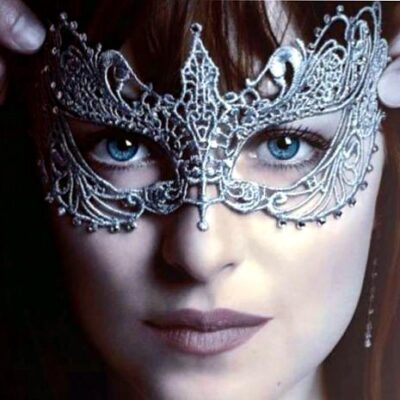 50 Shades Mask - Anastasia Silver with Crystals