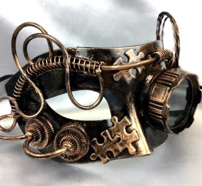 Steampunk Mask with Glasses Gold