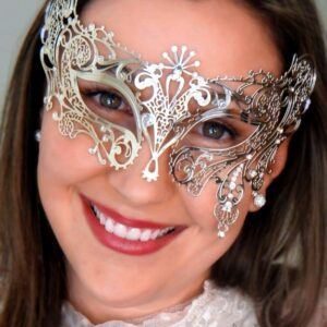 Silver Masquerade Mask with Crystals