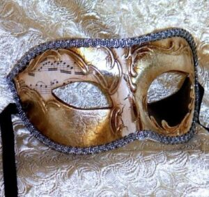 Music Theme Silver Mens Mask