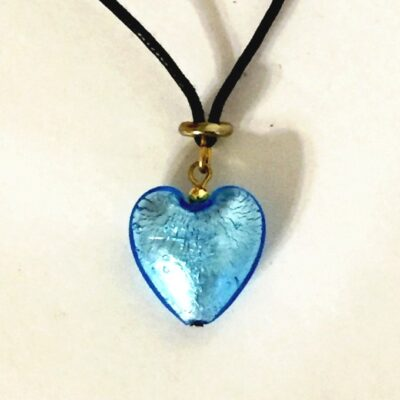 Murano Glass Heart Blue