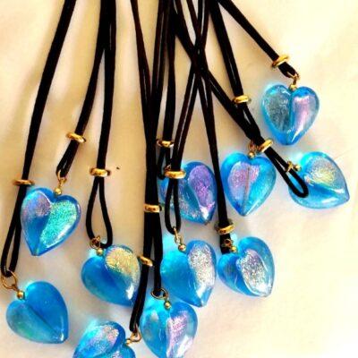 Murano Glass Heart Necklace Blue