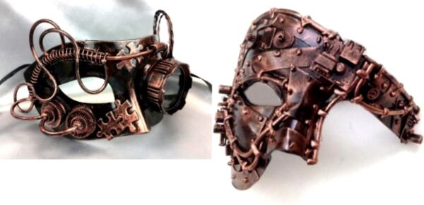 Steampunk Couples Masks Copper