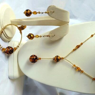 Leopard Jewelry Murano Glass Necklace Bracelet Earrings Set