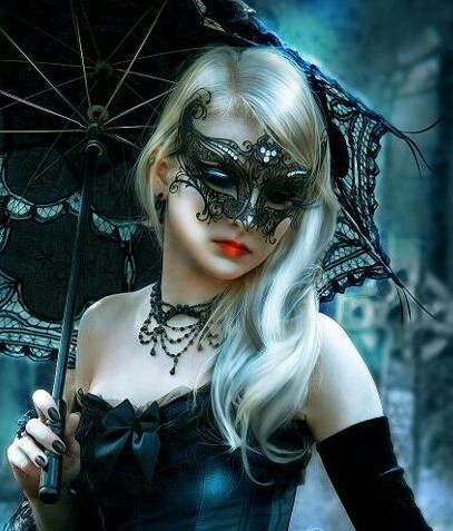 Black Angel Mask Rhinestone