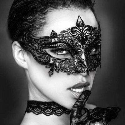 Black Masquerade Mask Fleur