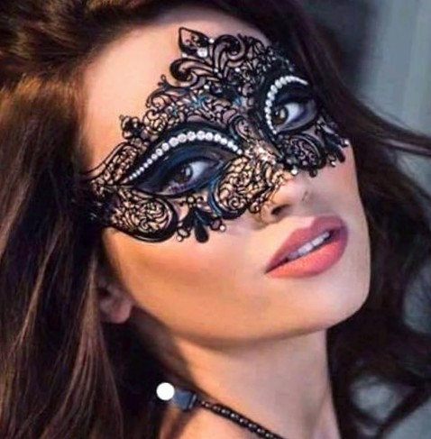 Fleur Black Mask with Swarovski