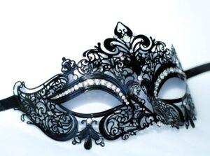 Fleur Black Mask Clear Crystals