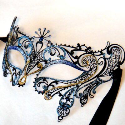 Blue Masquerade Mask Gatsby