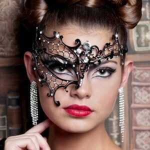 Deluxe Gothic Phantom Mask Glittering Crystals