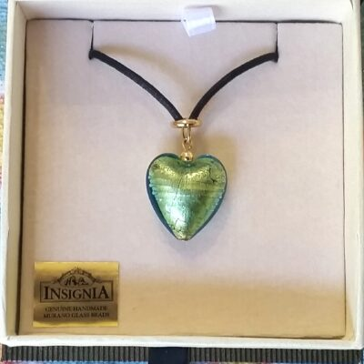 Green Murano Heart Necklace