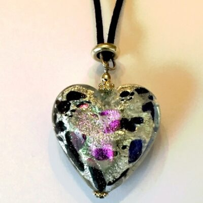 Large Heart Necklace Snow Leopard