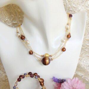 Murano Glass Jewelry Set in Plum