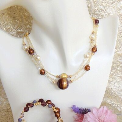 Murano Glass Jewelry Set in Plum
