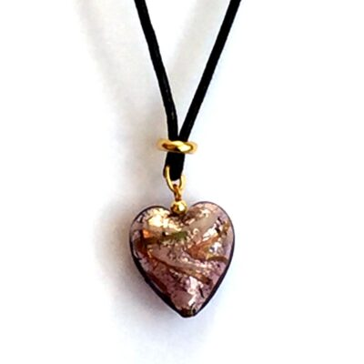 Antique Rose Heart Murano Necklace