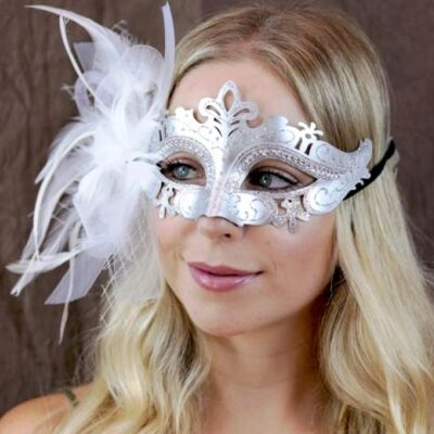 Silver Ladies Mask White feathers