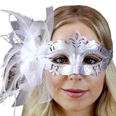 Silver White Feather Mask